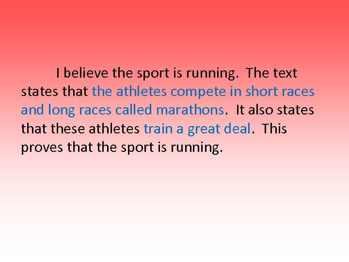 I believe the sport is running. The text states that the athletes compete in
