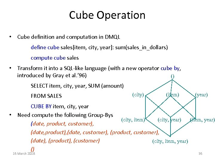 Cube Operation • Cube definition and computation in DMQL define cube sales[item, city, year]: