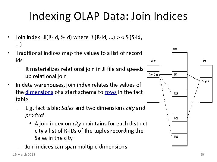 Indexing OLAP Data: Join Indices • Join index: JI(R-id, S-id) where R (R-id, …)