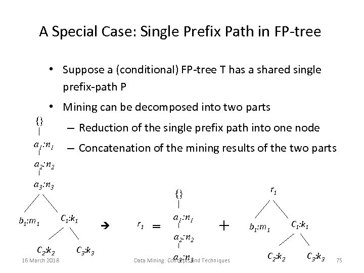 A Special Case: Single Prefix Path in FP-tree • Suppose a (conditional) FP-tree T
