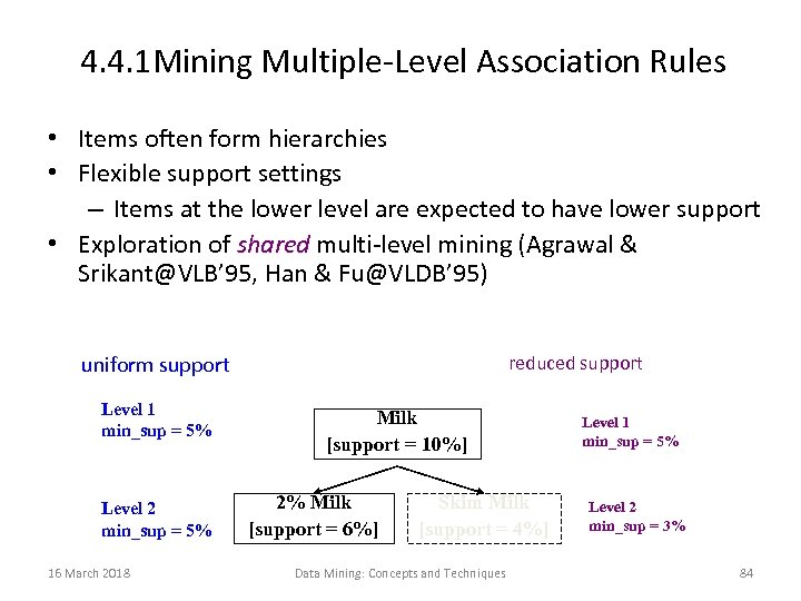4. 4. 1 Mining Multiple-Level Association Rules • Items often form hierarchies • Flexible