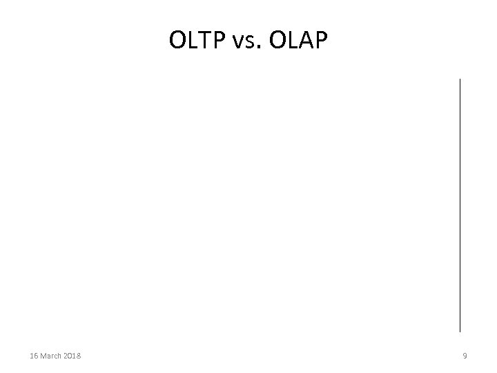 OLTP vs. OLAP 16 March 2018 9