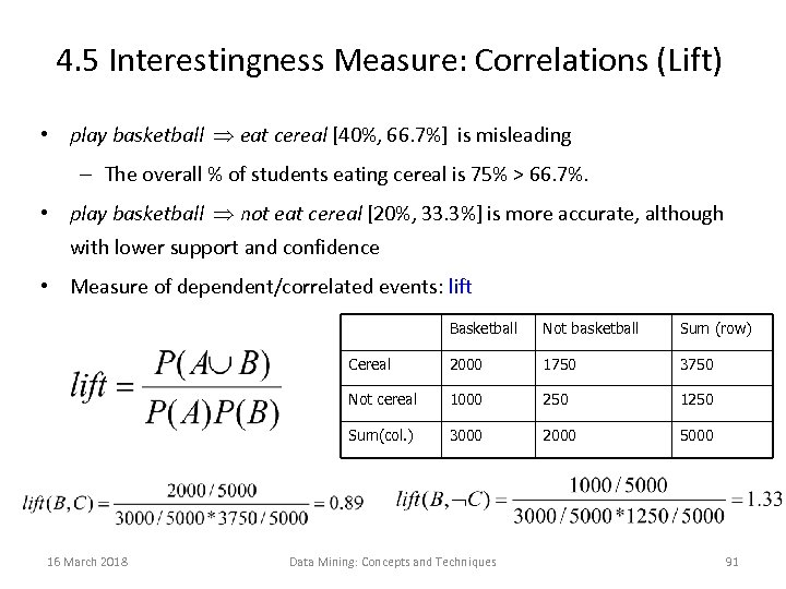 4. 5 Interestingness Measure: Correlations (Lift) • play basketball eat cereal [40%, 66. 7%]