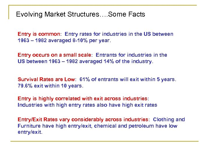 Evolving Market Structures…. Some Facts Entry is common: Entry rates for industries in the