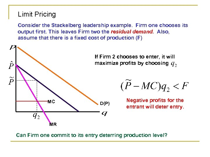 Limit Pricing Consider the Stackelberg leadership example. Firm one chooses its output first. This