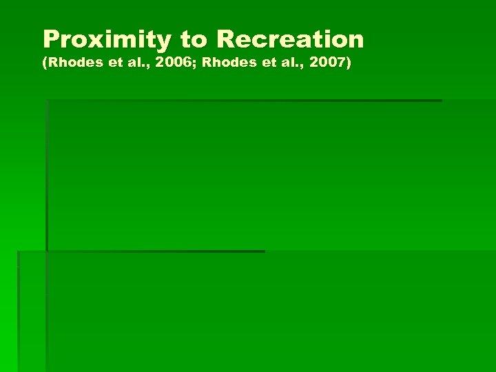 Proximity to Recreation (Rhodes et al. , 2006; Rhodes et al. , 2007)