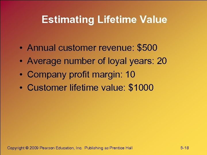 Estimating Lifetime Value • • Annual customer revenue: $500 Average number of loyal years: