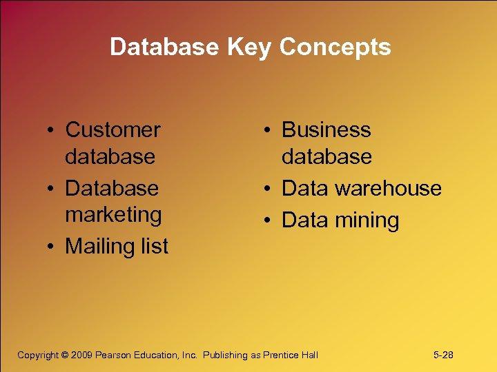 Database Key Concepts • Customer database • Database marketing • Mailing list • Business