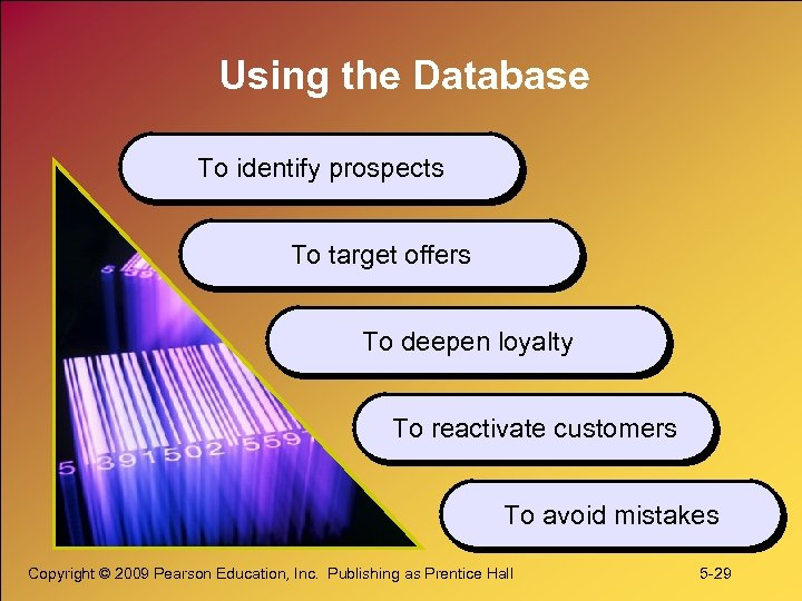 Using the Database To identify prospects To target offers To deepen loyalty To reactivate