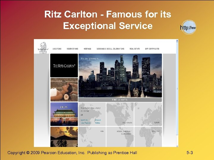Ritz Carlton - Famous for its Exceptional Service Copyright © 2009 Pearson Education, Inc.
