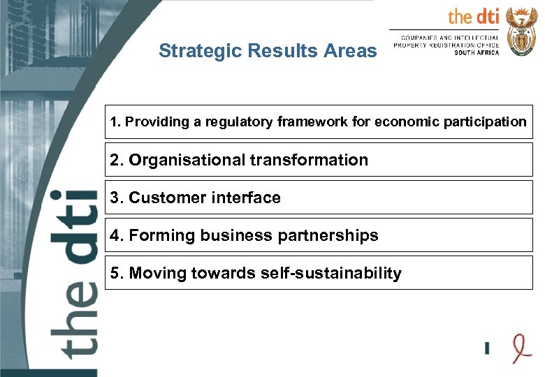 Strategic Results Areas 1. Providing a regulatory framework for economic participation 2. Organisational transformation