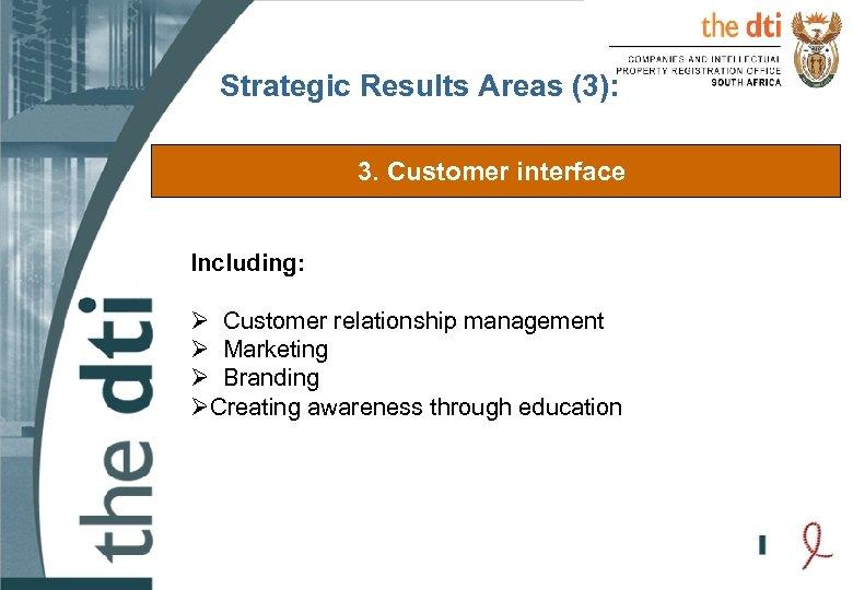 Strategic Results Areas (3): 3. Customer interface Including: Ø Customer relationship management Ø Marketing