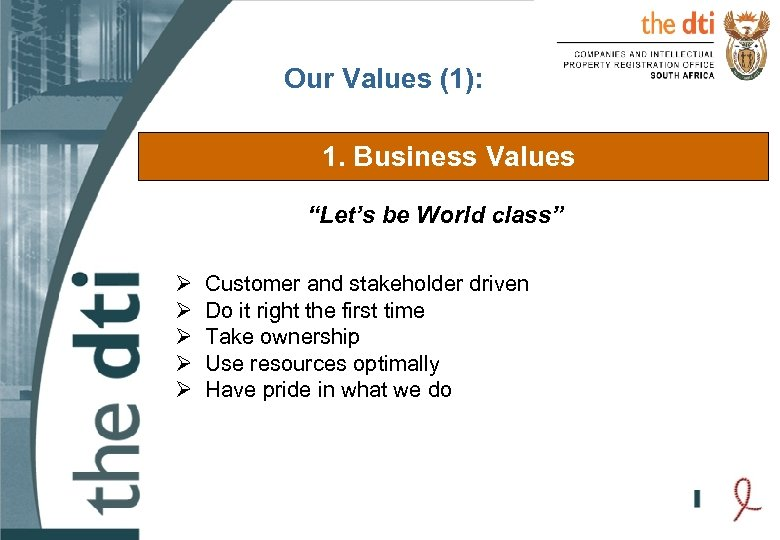 """Our Values (1): 1. Business Values """"Let's be World class"""" Ø Ø Ø Customer"""