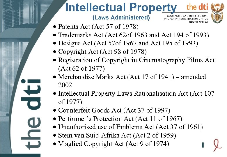 Intellectual Property (Laws Administered) · Patents Act (Act 57 of 1978) · Trademarks Act