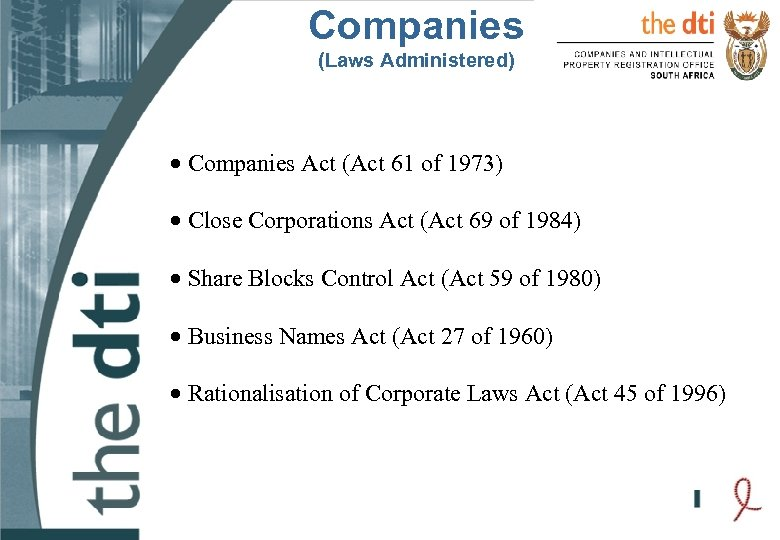 Companies (Laws Administered) · Companies Act (Act 61 of 1973) · Close Corporations Act