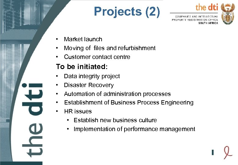 Projects (2) • Market launch • Moving of files and refurbishment • Customer contact