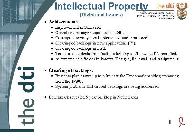 Intellectual Property (Divisional Issues) · Achievements: · · · · Improvement in Software. Operations