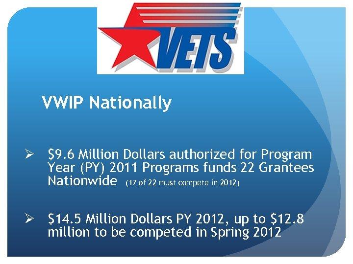 VWIP Nationally Ø $9. 6 Million Dollars authorized for Program Year (PY) 2011 Programs