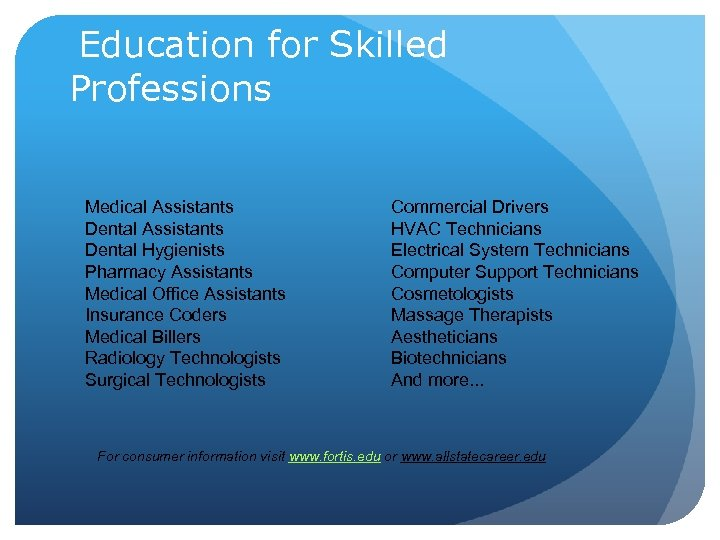 Education for Skilled Professions Medical Assistants Dental Hygienists Pharmacy Assistants Medical Office Assistants Insurance