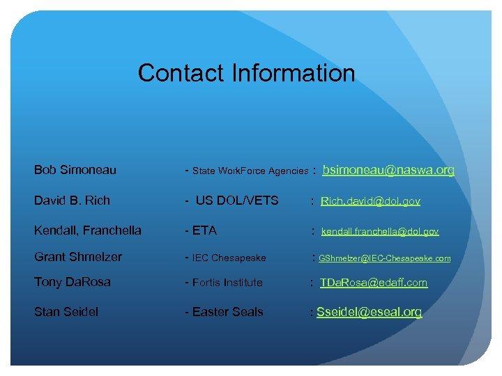 Contact Information Bob Simoneau - State Work. Force Agencies : bsimoneau@naswa. org David B.