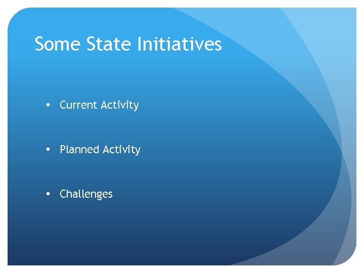 Some State Initiatives • Current Activity • Planned Activity • Challenges