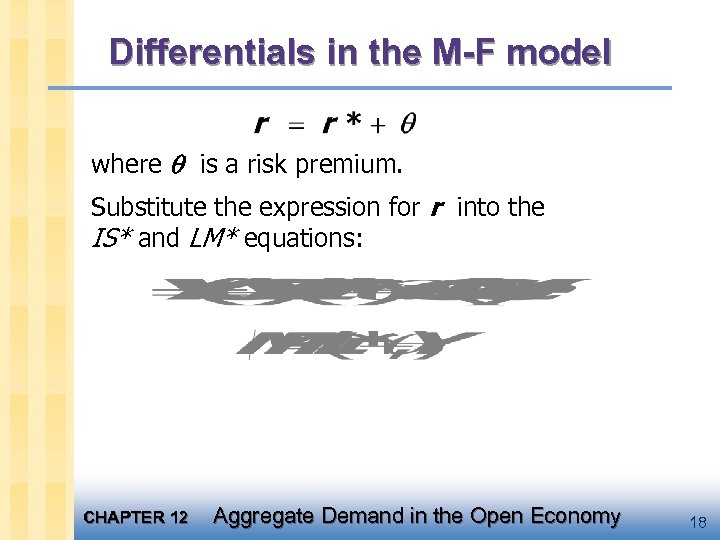 Differentials in the M-F model where is a risk premium. Substitute the expression for