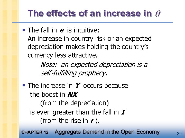 The effects of an increase in § The fall in e is intuitive: An