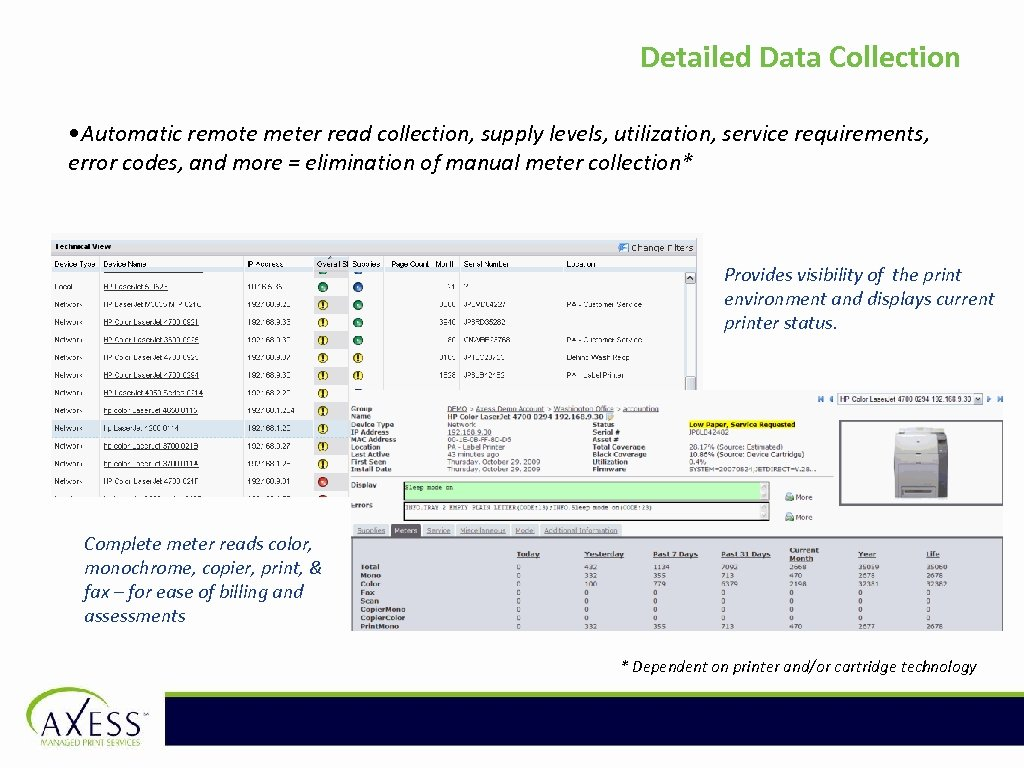 Detailed Data Collection • Automatic remote meter read collection, supply levels, utilization, service requirements,