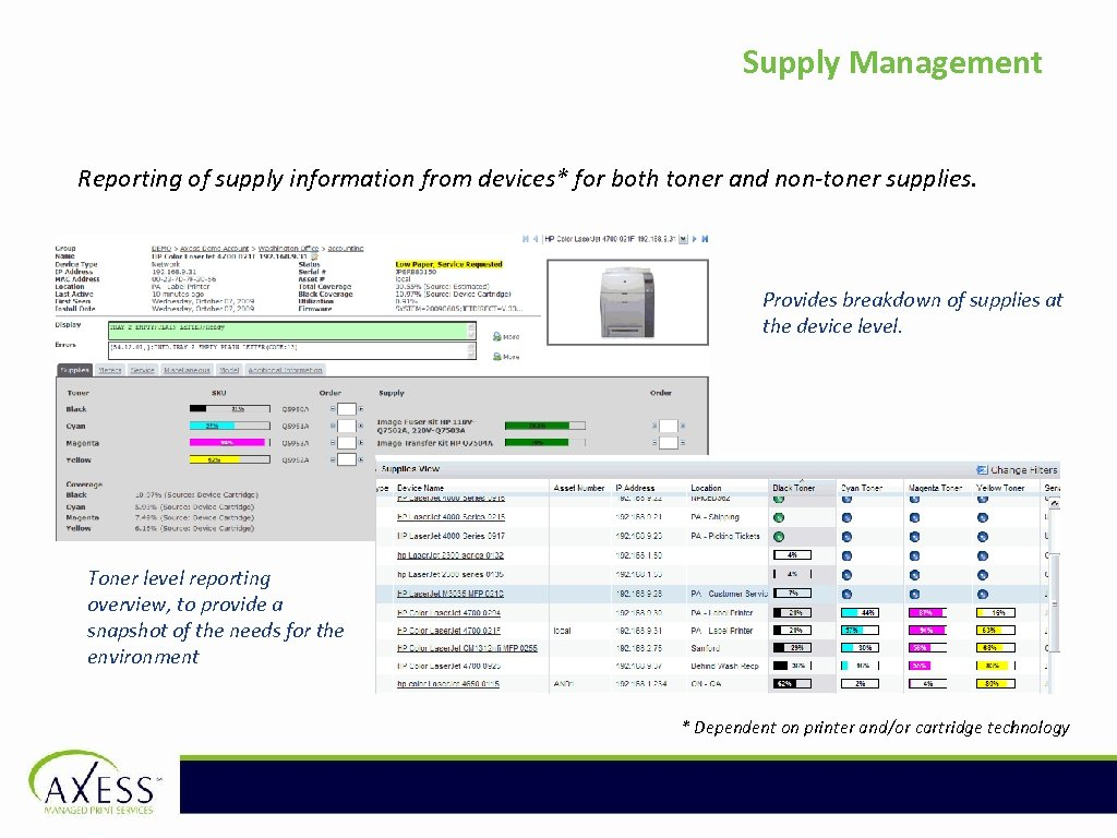 Supply Management Reporting of supply information from devices* for both toner and non-toner supplies.