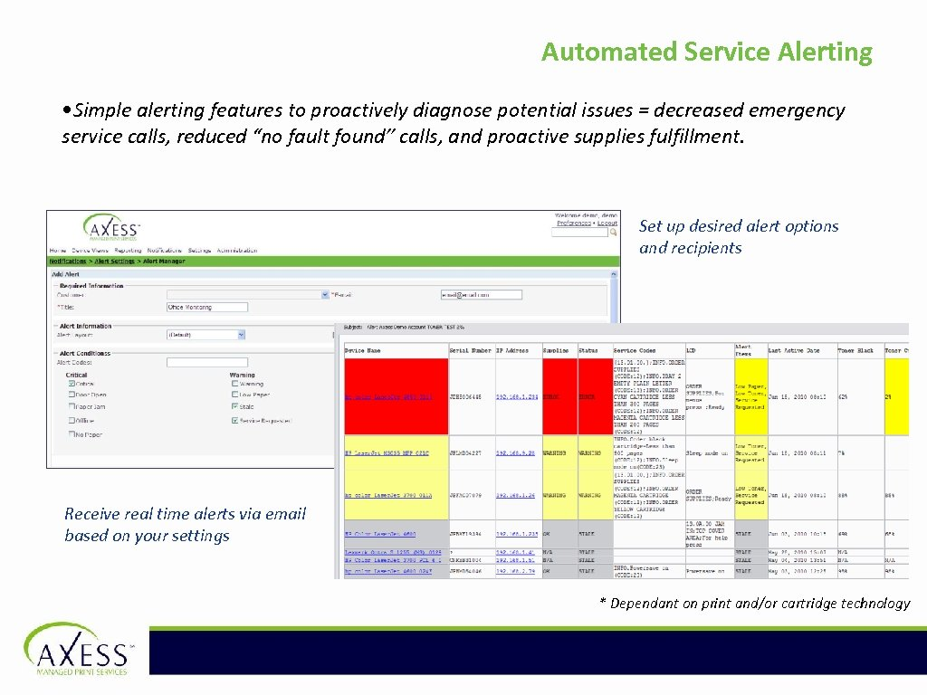 Automated Service Alerting • Simple alerting features to proactively diagnose potential issues = decreased