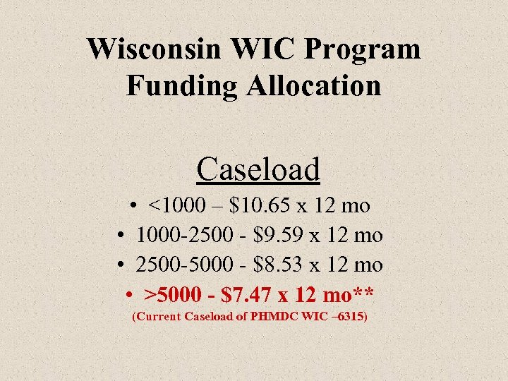 Wisconsin WIC Program Funding Allocation Caseload • <1000 – $10. 65 x 12 mo