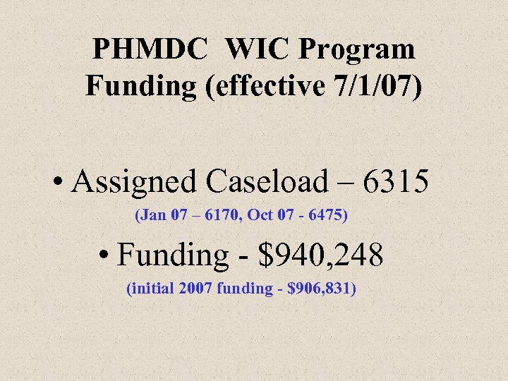 PHMDC WIC Program Funding (effective 7/1/07) • Assigned Caseload – 6315 (Jan 07 –
