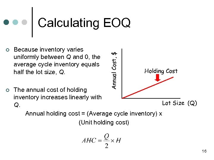 ¢ ¢ Because inventory varies uniformly between Q and 0, the average cycle inventory
