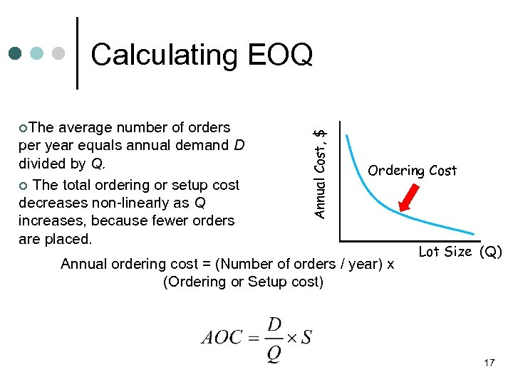 ¢The average number of orders per year equals annual demand D divided by Q.