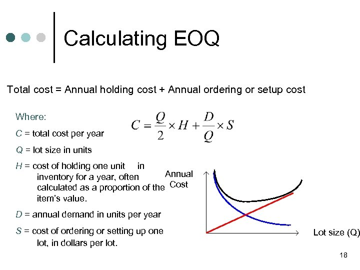 Calculating EOQ Total cost = Annual holding cost + Annual ordering or setup cost