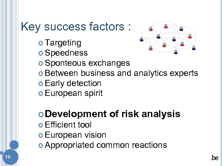 Key success factors : Targeting Speedness Sponteous exchanges Between business and analytics experts Early