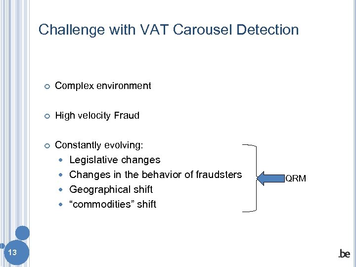 Challenge with VAT Carousel Detection Complex environment High velocity Fraud Constantly evolving: Legislative changes