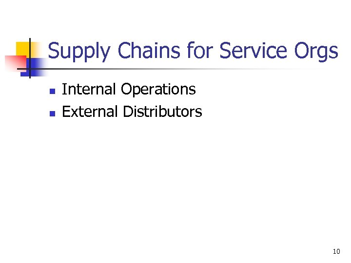 Supply Chains for Service Orgs n n Internal Operations External Distributors 10