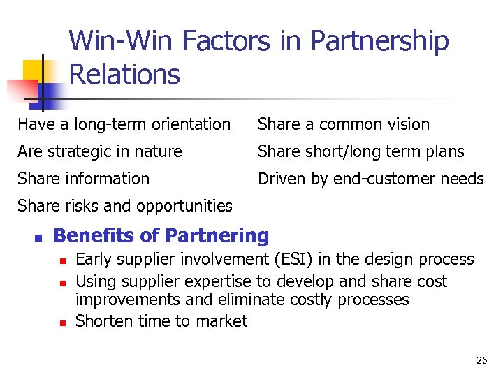 Win-Win Factors in Partnership Relations Have a long-term orientation Share a common vision Are