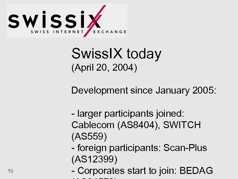 Swiss. IX today (April 20, 2004) Development since January 2005: 10 - larger participants
