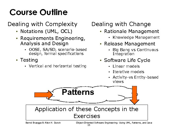 Course Outline Dealing with Complexity Dealing with Change • Notations (UML, OCL) • Requirements