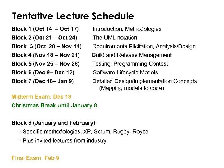 Tentative Lecture Schedule Block 1 (Oct 14 – Oct 17) Introduction, Methodologies Block 2
