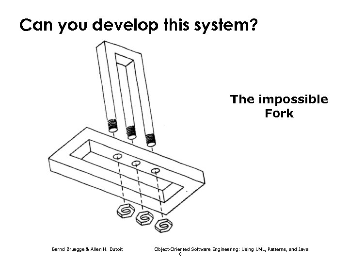 Can you develop this system? The impossible Fork Bernd Bruegge & Allen H. Dutoit