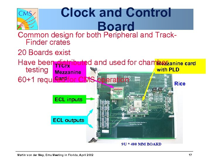 Clock and Control Board Common design for both Peripheral and Track. Finder crates 20