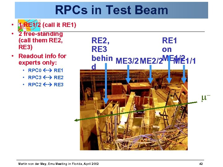 RPCs in Test Beam • 1 RE 1/2 (call it RE 1) • 2