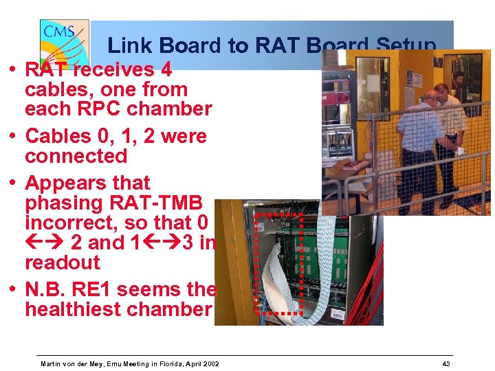 Link Board to RAT Board Setup • RAT receives 4 cables, one from each