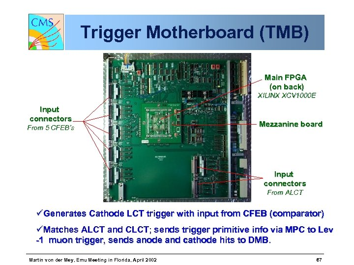 Trigger Motherboard (TMB) Main FPGA (on back) XILINX XCV 1000 E Input connectors From