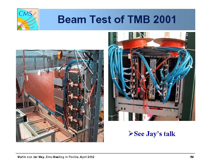Beam Test of TMB 2001 ØSee Jay's talk Martin von der Mey, Emu Meeting