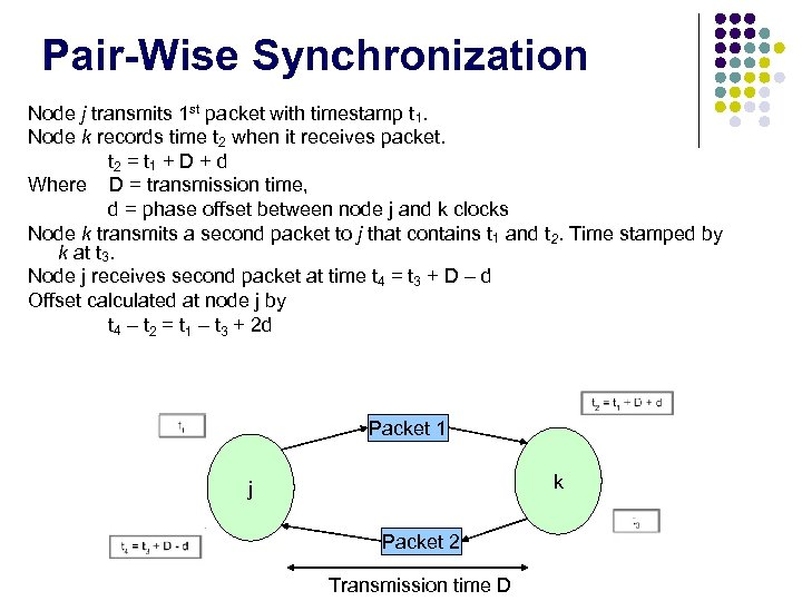 Pair-Wise Synchronization Node j transmits 1 st packet with timestamp t 1. Node k