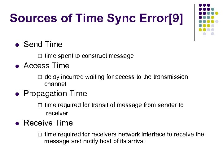 Sources of Time Sync Error[9] l l Send Time □ time spent to construct